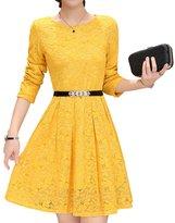 Bluewolfsea Women Round Neck Long Sleeve Pleated Lace Slim Dress Yellow L