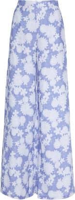 Miguelina Pamela High-Waisted Floral-Print Wide-Leg Pants