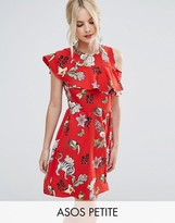 Asos Ruffle Tea Dress with Open Back in Badge Print