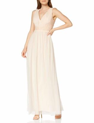 Little Mistress Women's Bea Nude Lace-Trim Maxi Dress Party Pink 001 (Size:12)