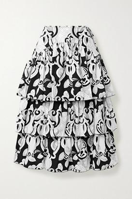 See by Chloe Tiered Printed Cotton-poplin Midi Skirt - White