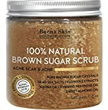 Acne and Acne Scar Scrub Brown Sugar For Face and Body - Anti Cellulite Treatment, Natural Exfoliator, Moisturizer Promoting Radiant Skin,100% Natural 12 fl. oz by Buena Skin