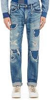 Fdmtl Men's Distressed Patchwork Jeans-Blue Size 30