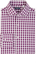 Finamore Men's Poplin Gingham Shirt-PURPLE