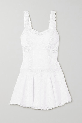 Charo Ruiz Ibiza Biba Crocheted Lace-trimmed Broderie Anglaise Cotton-blend Mini Dress - White