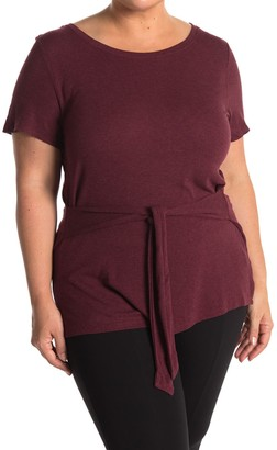 H By Bordeaux Tie Front Ribbed Knit T-Shirt