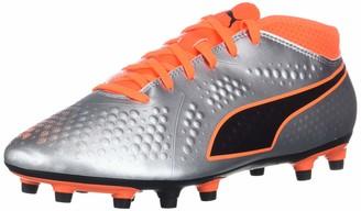 Puma Men's One 4 Syn Firm Ground Soccer-Shoe Silver-Shocking Orange Black Numeric_11_Point_5