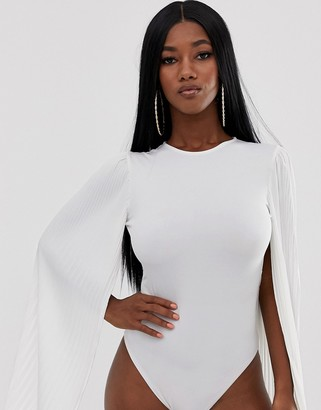 John Zack body with pleated bell sleeve in white