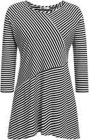Meaneor Plus Size Casual Striped T-Shirt, O-Neck Asymmetrical Tee Loose Pullover Knit Tops (XXL, )