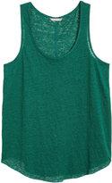 H&M H&M+ Linen Tank Top - Dark green - Ladies