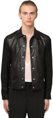 Rick Owens Snaps Leather Shirt Jacket W/ Cupro