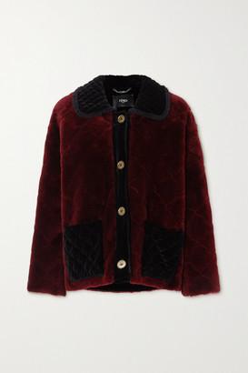Fendi Ruffled Velvet-trimmed Quilted Shearling Coat - Red