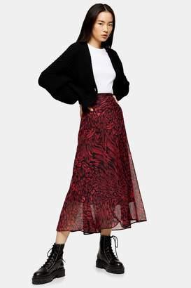 Topshop Womens Red Warped Leopard Midi Skirt - Red