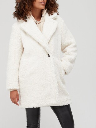 Very Relaxed Faux Teddy Fur Coat - Ivory
