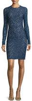 Michael Kors Lace Long-Sleeve Sheath Dress, Sapphire