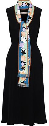 Emilio Pucci Tie-neck Printed Satin Twill-trimmed Crepe Dress