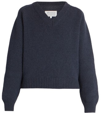 Maison Margiela V-Neck Wool & Alpaca Knit Sweater With Contrast Stitch Details
