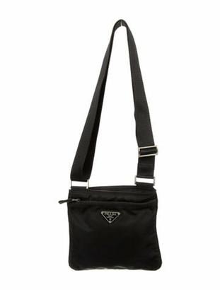 Prada Small Flat Tessuto Messenger Bag Black