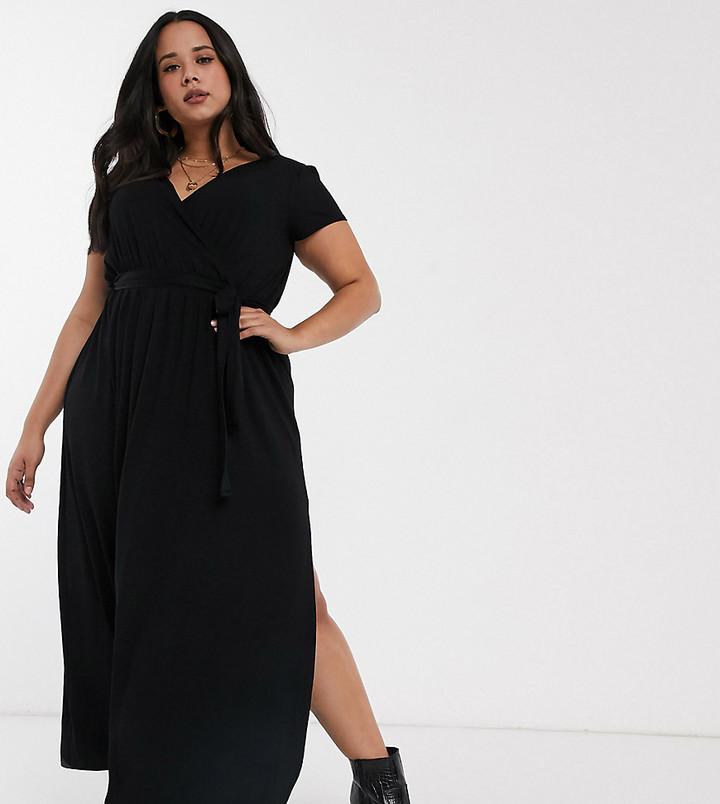 ASOS DESIGN Curve tie waist wrap front maxi dress in black