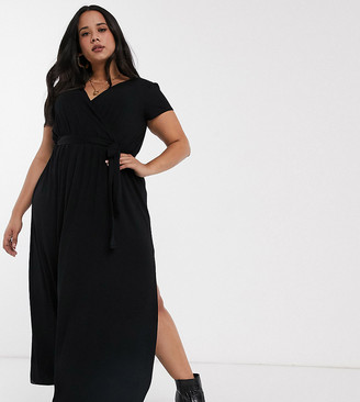 ASOS DESIGN Curve tie waist wrap front maxi dress in black