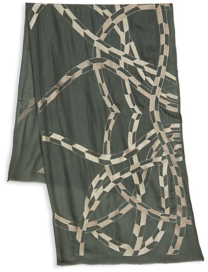 Thumbnail for your product : Janavi Abstract Metallic Print Cashmere Scarf