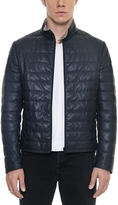Forzieri Dark Blue Quilted Leather Men's Jacket