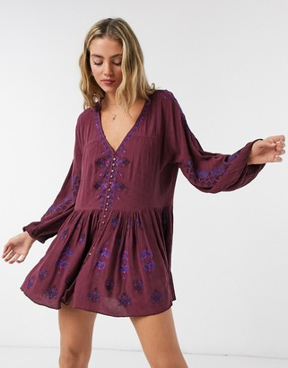 Free People Arianna embroidered tunic dress in red