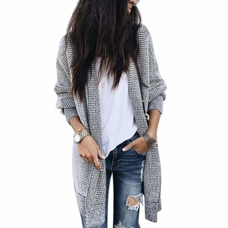 Borlai Women's Casual Grid Coat Open Front Long Sleeve Knit Cardigan Sweater with Pocket (M)