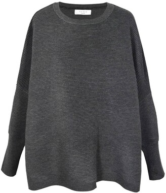 Paisie Oversized Ribbed Jumper In Charcoal