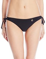 Hawaiian Tropic Women's Lace Up Solid Bikini Bottom Black
