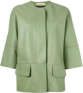 Marni three-quarter sleeve leather jacket - women - Silk/Lamb Skin - 40
