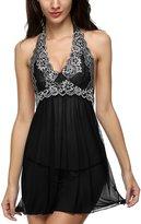 CAPSS Women Halter Lingerie Enchanting Satin Mini Dress Lace Babydoll / 5XL