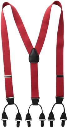 Status Men's Suspenders 11/4 Inch 6 Clip Button LookPin Clip Closure