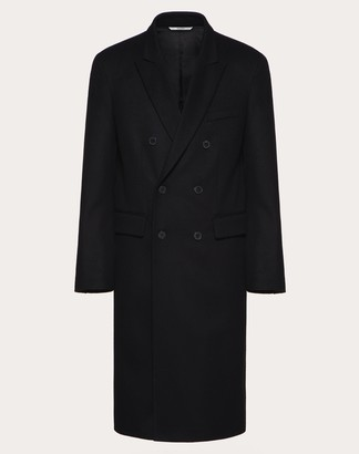 Valentino Double-breasted Coat With Stitched Vlogo Man Black Virgin Wool 100% 44