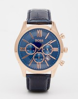 HUGO BOSS BOSS By Blue Leather Strap Watch 1513320