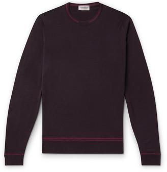 John Smedley Contrast-Tipped Merino Wool Sweater