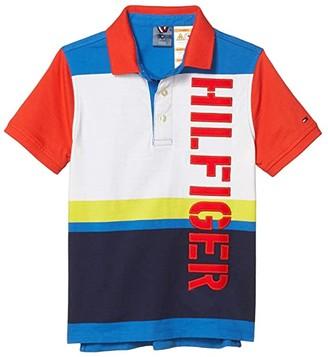 Tommy Hilfiger Adaptive Short Sleeve Fatone Striped Polo (Little Kids/Big Kids) (Bright White/Multi) Men's Clothing