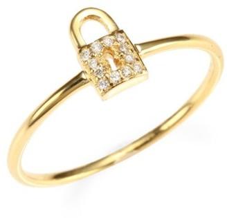 Sydney Evan 14K Yellow Gold & Diamond Lock Ring