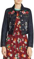 Maje Barry Embroidered Cropped Denim Jacket