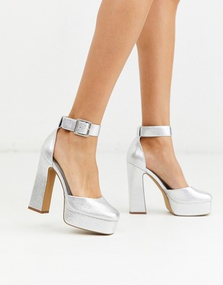 ASOS DESIGN Presta square high heels in silver