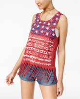Almost Famous Crave Fame Juniors' Printed American Flag Fringe Muscle Tank
