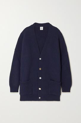 Vetements Oversized Crystal-embellished Ribbed Wool Cardigan - Navy