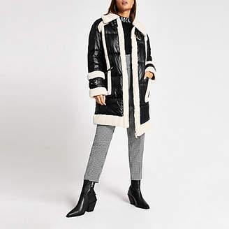 River Island Black faux fur padded longline aviator jacket