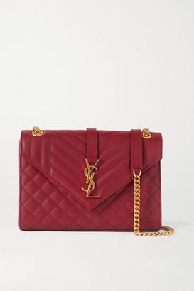 Saint Laurent Envelope Medium Quilted Textured-leather Shoulder Bag - one size