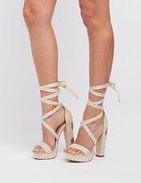 Charlotte Russe Rose Embroidered Lace-Up Platform Sandals