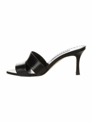 Manolo Blahnik Calf Leather Slides Black