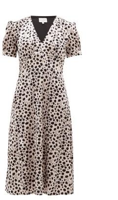 HVN Paula Leopard-print Velvet Midi Dress - Womens - Leopard