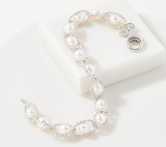 Honora Sterling Silver Cultured Pearl & Oval Link Bracelet
