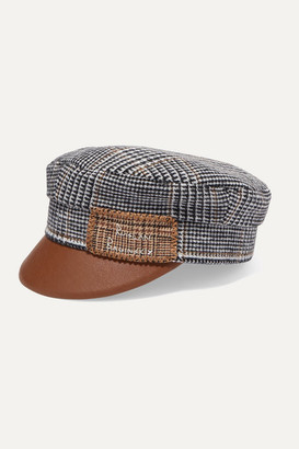 Ruslan Baginskiy Embroidered Checked Wool And Faux Leather Cap - Gray