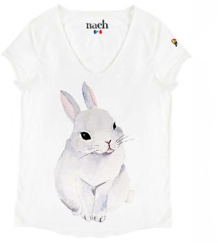 Nach White Rabbit Print T Shirt - small